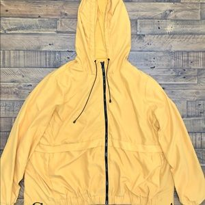 Forever 21 yellow/black hooded zip front jacket